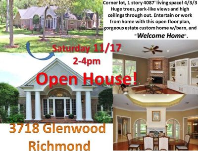Open House TODAY Sat 11/17, 2-4pm, Huge 4/3/3 w/barn Country Estate off FM359. RICHMOND