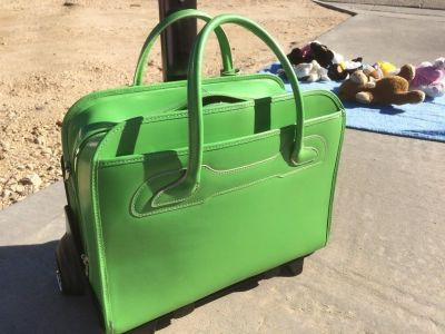 Lime Green Rolling Leather Briefcase