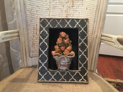 SHADOW BOX FRAME WITH DRIED ROSES
