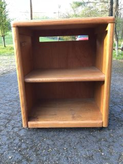 Solid wood rolling cart/ microwave stand! Moveable shelf!