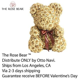 Rose Bear Teddy Bear Cub Forever Artificial Rose Anniversary Christmas Valentines Gift 14""