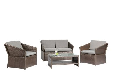Azure Sky N77 Outdoor Furniture Complete Patio 4 Piece Polyethylene Wicker Rattan Garden Set, Brown