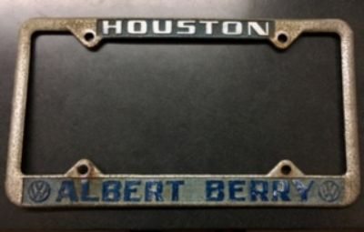 VW-License Plate Frame-Albert Berry-Houston