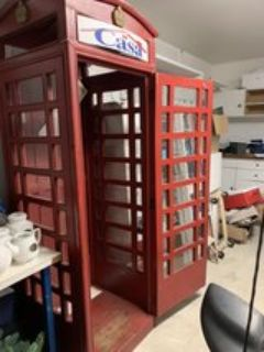 Red British Antique Phone Booth