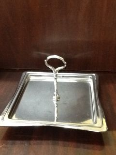Silver Metal One Tier Serving Tray