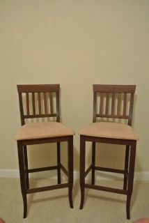 Wood and Suede Bar Stools