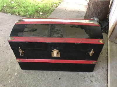 Antique chest with small wheels
