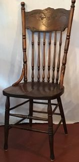 Antique solid oak pressed back dining room chairs (6 matching)