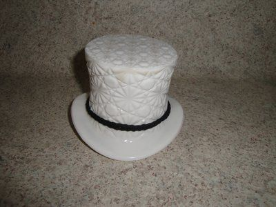 milk glass derby hat