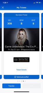 4 Carrie Underwood tickets and a parking pass