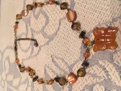 Vintage Necklace Various Shapes Sizes and Colors of Beads Carnelian Carved Butterfly Pendant Ear...