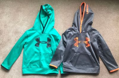 Two boys size 5 under armour hoodies