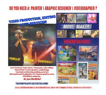 Creative services at $4.80/hr, handmade & digital art