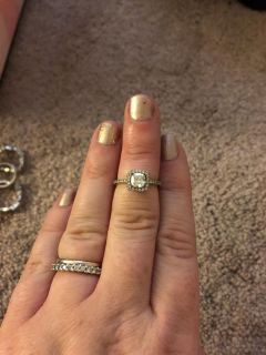 Sterling silver and cz cushion cut halo ring