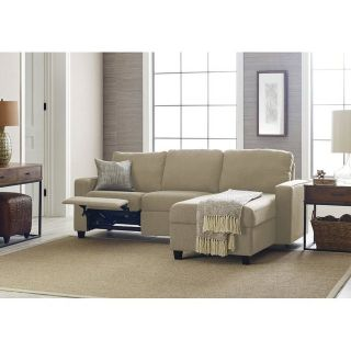 BRAND NEW! COMFY BEIGE SOFA CHAISE SECTIONAL WITH BUILT IN RECLINER + STORAGE!