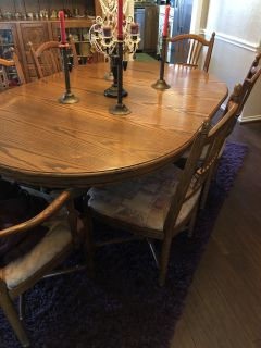 Oak dining table 6 chairs