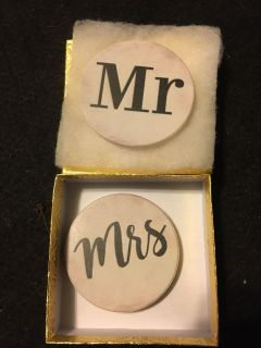 Brand new Mr and Mrs set of car coasters