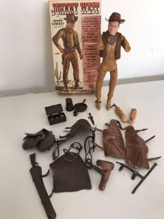 Marx JOHNNY WEST Cowboy Action Figure Doll with ORIGINAL BOX & Many Accessories - FOR PARTS or DISPLAY ONLY