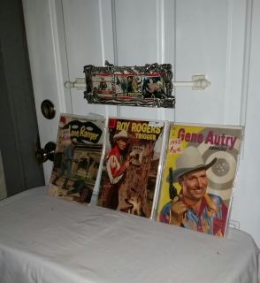 Western frame wh Lone Ranger, Roy Rogers, Gene Audry collectable cards. Lone Ranger comic 1958, Rogers 1956, Audry 1952. All for $25