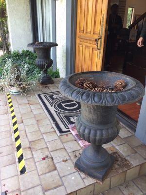 Pair of Large Antique Cast Iron Planters Urns