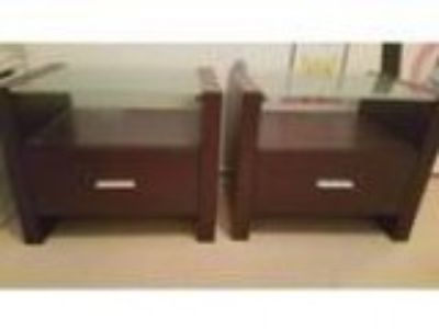 x Bedside tables chocolate colour with glass tops
