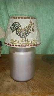 Rooster mosiac candle shade with candle