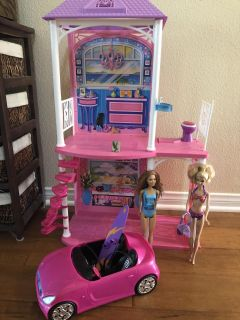 Barbie house! Great Condition! Super cute! Missing a back railing section... car is missing rear view mirrors Comes with everything you see!