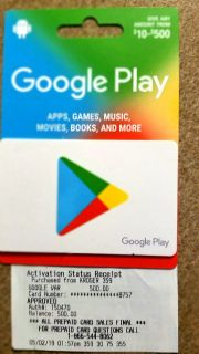 Google play gift card $500.00 value