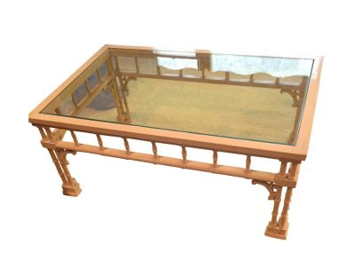 1970s Faux Bamboo Glass Top Coffee Table