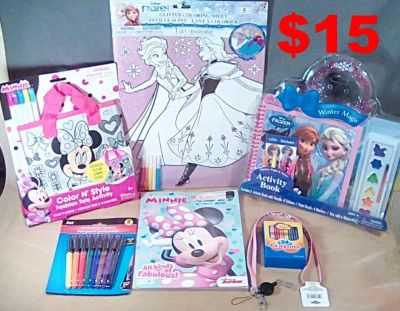 7 Brand New Items, Including Disney Frozen, Minnie Mouse, Crayons, Markers & Tons of Coloring Fun