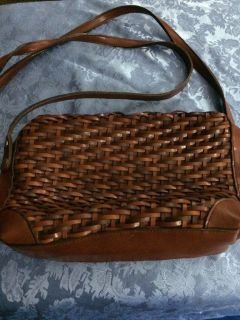 Brown woven leather purse shoulder bag