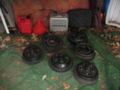 set of 4 Model A Ford brake drums,backing plates & shoes