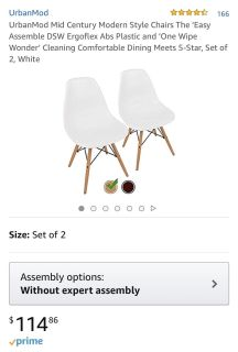 Pair NEW in box Earnes Urban Mod Mid Century Modern Style Chairs