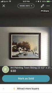 Painting Town Skiing winter 23x27in wall art wall decor