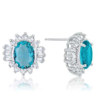 3.3ct Aqua Cubic Zirconia Classic Stud Earrings