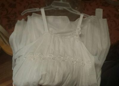 Cinderella couture nwt girls size 12 slip dress white with silver thread detailing