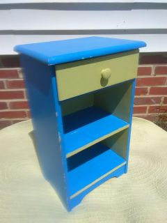 Wood Side Table - yellow blue