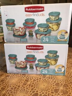 Rubbermaid 2 sets new in box never open 24 pc each