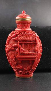 Vintage Oriental hand carved intriquite Cinnabar Snuff Bottle