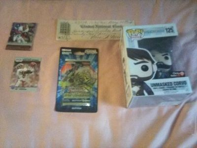 Trading cards, cancelled antique check, pop funko