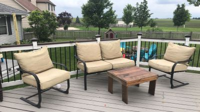 Patio furniture and cushions