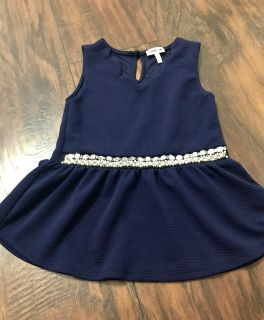 Navy Blue fancy tank top with pearls and rhinestones size 8