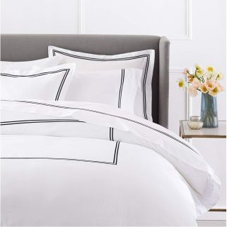 400-Thread-Count Egyptian Cotton Sateen Hotel Stitch Duvet Cover - Full/Queen, Black Strip