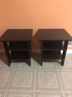 HEMNES Black stained side tables set of 2