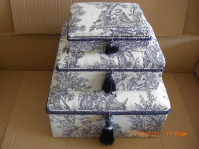 WAVERLY VINTAGE FRENCH COUNTRY LIFE TOILE BLUE SET OF 3 STACKING BOXES