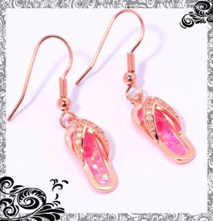 New - Dainty Pink Fire Opal with Rose Gold Flip Flop Earrings