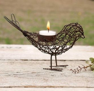 Adorable Wire Bird Tea Light Candle Holder. NEW