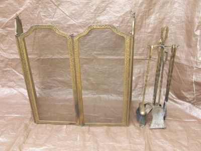 Fireplace Tool Set / Screen Distressed Hammered Finish