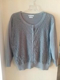 Vanheusen grey lace cardigan sz XXL (posting in 1X because that's how it fits)