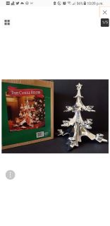 "Sam's West Cast Metal Christmas Tree Votive Tealight Candle Holder 16"" Tall"